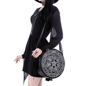 Black Round Pentacle Mystic Symbol Bag Purse Witch
